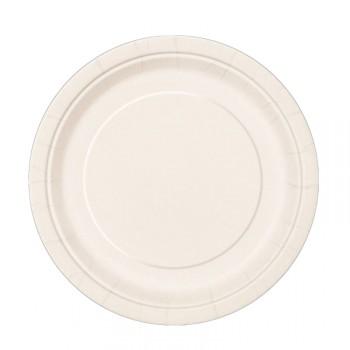 Assiettes à dessert carton jetables rondes ivoire