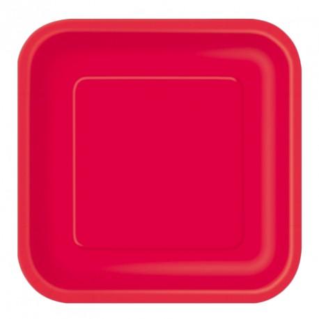 Paquet de 14 assiettes carrées en carton rouge Dimensions : 18 cm x 18 cm