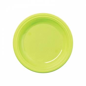 50 Assiettes dessert plastique eco vert anis