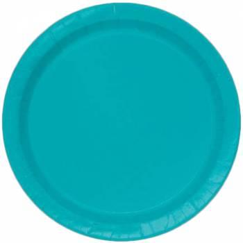 16 Assiettes en carton rondes bleu caraïbe