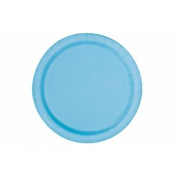 20 Assiettes dessert rondes bleu bébé
