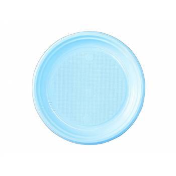 50 Assiettes dessert plastique eco bleu pastel
