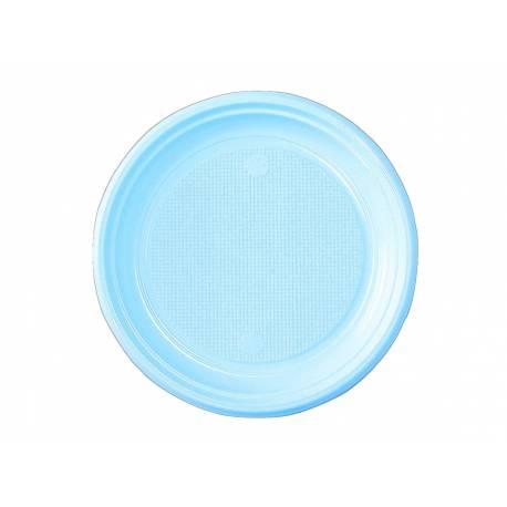 50 assiettes à dessert en plastique bleu pastel Dimension : Ø 17 cm