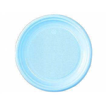 30 Assiettes plastique eco bleu pastel