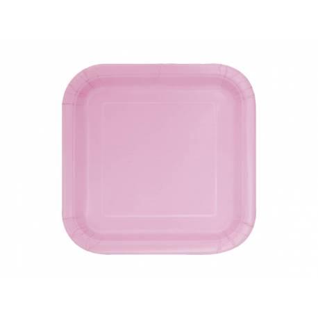 Paquet de 16 assiettes à dessertcarrées en cartonrose Dimensions : 18 cm x 18 cm