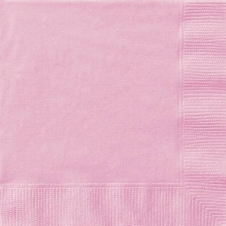 20 Serviettes en papierrose dimension dépliée : 33 cm x 33 cm