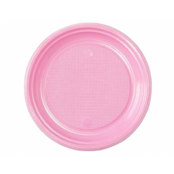 30 Assiettes plastique eco rose pastel