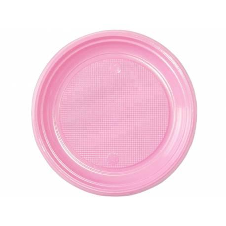 30 assiettes en plastique rose pastel Dimension : Ø 22 cm