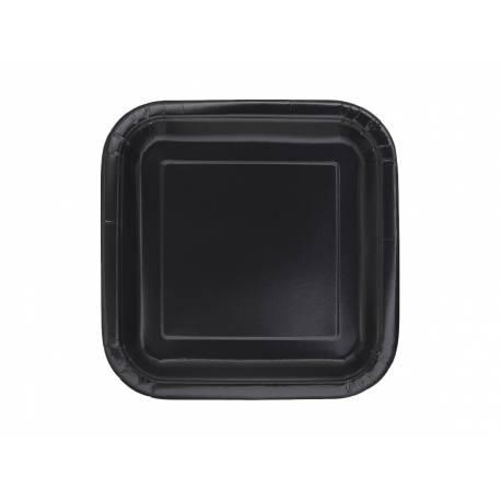 Paquet de 16 assiettes à dessertcarrées en carton noir Dimensions : 18 cm x 18 cm