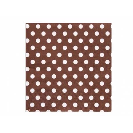 20 Serviettes en papier à mini pois chocolat 17 cm x17 cm fermé 33 cm x 33 cm ouverte