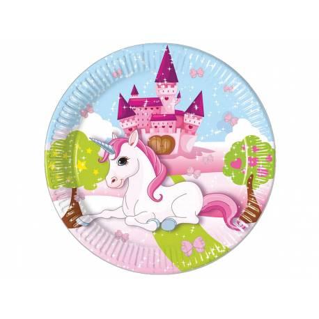 Assiettes thème Licorne pour la décoration anniversaire de votre enfant. 8 Assiettes en carton Ø 23 cm