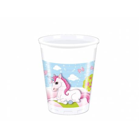 Gobelets thème Licorne pour la décoration anniversaire de votre enfant. 8 Gobelets en plastique20 cl