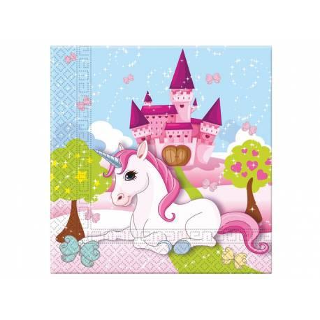 Serviettes thème Licorne pour la décoration anniversaire de votre enfant.20 Serviettes en papier. Dimensions : 18.5cm x 18.5 cm / 33 cm...