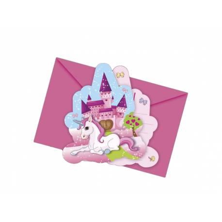 Invitation anniversaire Licorne pour la décoration anniversaire de votre enfant. 6 Cartes invitations + enveloppes.