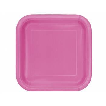 14 Assiettes carrée fuchsia