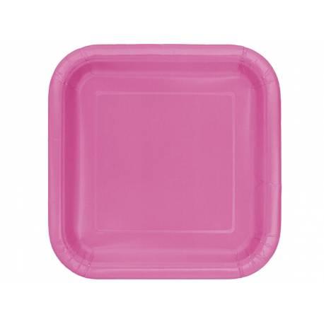 Paquet de 14 assiettes en cartonfuchsia Dimensions: 23 cm x 23 cm