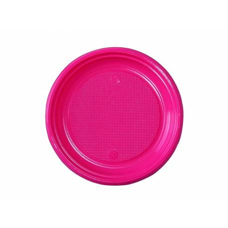 50 assiettes à dessert en plastique fuschia Dimension : Ø 17 cm