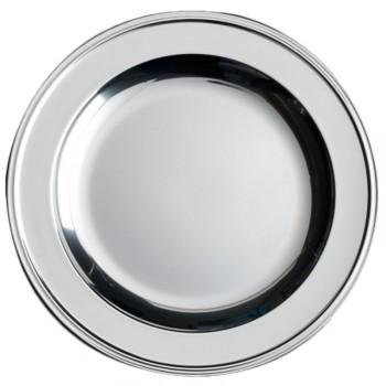 4 Assiettes/plat rond plastique argent 30 cm