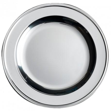 4 Plat ou assiettes en plastique rigide couleur argent Ø 30 cm
