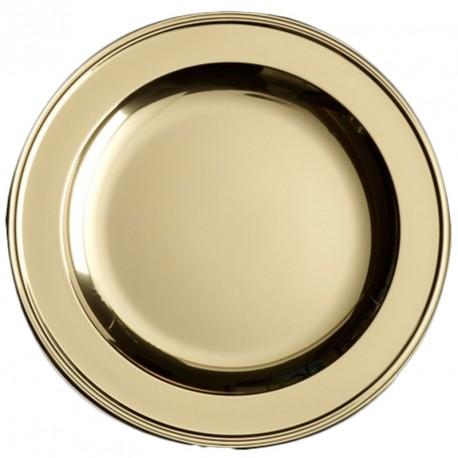 4 Plat ou assiettes en plastique rigide couleur or Ø 30 cm