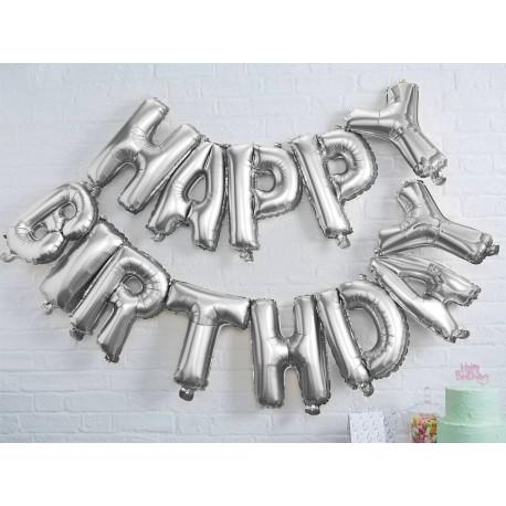 Bouquet de ballons alu argent Happy Birthday pouvant être gonflé à l'air à l'aide d'une paille ou d'une petite pompe Dimensions de...