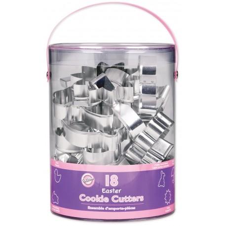 Kit 18 emportes pièces pâques pour faire des deco de gâteau en pâte à sucre et des biscuits. Contient : 1 croix, 1 papillon, 1 poussin,1...