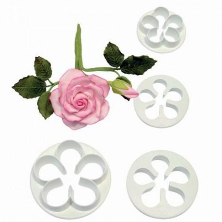 Kit 4 emporte pièces roses pour faire des deco de gâteau en pâte à sucre et des biscuits. Diamètre : 3.5 cm, 4 cm, 4.5 cm, 5 cm