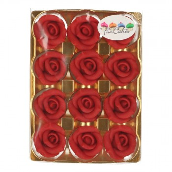 12 Roses en pâte d'amande rouge
