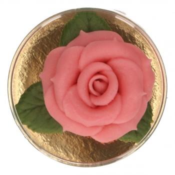 Rose en pâte d'amande rose