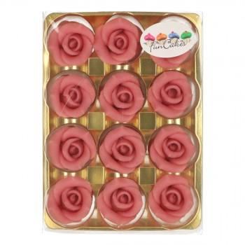 12 Roses en pâte d'amande rose