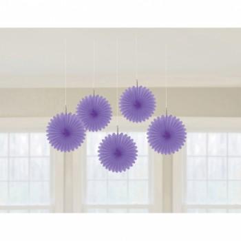5 Suspensions éventail violet