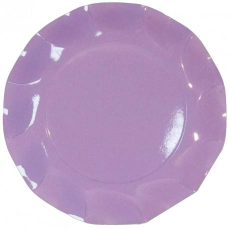 10 Assiettes en cartonlilas Les bords ont un élégant effet de vague Ø 21 cm