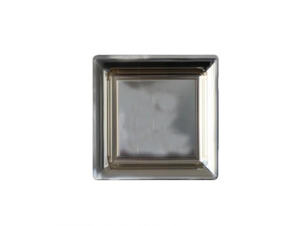 vaisselle jetable assiettes carree dessert plastique argent. Black Bedroom Furniture Sets. Home Design Ideas