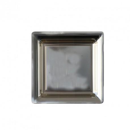 6 assiettes à dessert en plastique carrée rigide couleur argent 18 cm x 18 cm