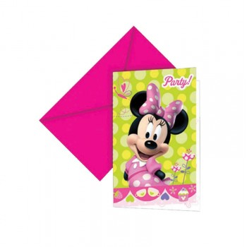 6 Invitations Minnie + enveloppes