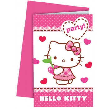 6 Cartes invitations + enveloppes Hello Kitty