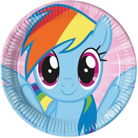 8 Assiettes en carton pour anniversaire thèmeMon petit poney rainbow Ø 23 cm