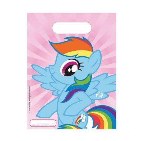 6 Sachets de fêtepour anniversaire thèmeMon petit poney rainbow Matière: plastique Dimensions : 16cm x 23cm