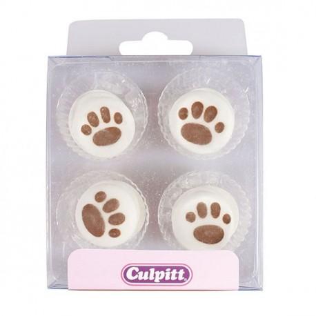 Boîte de 12 mini décors trace de pattes de chien en sucre pour la deco de cupcakes et gâteau. Diamètre: 3.5 cm