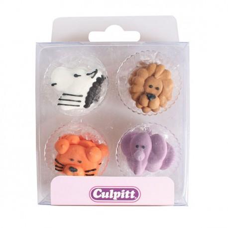Boîte de 12 mini décors animaux de la jugle en sucre pour la deco de cupcakes et gâteau. Diamètre: 3.5 cm