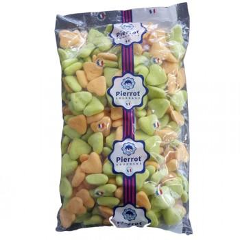 250 bonbons Coeurs guimauve orange/vert 1.5kg
