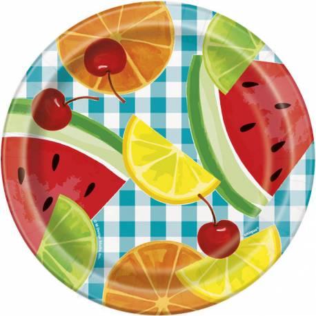 8 Assiettes à dessert en carton décor fruit party pour la décoration de table d'une fête d'été coloré et fruité Dimensions: Ø18cm