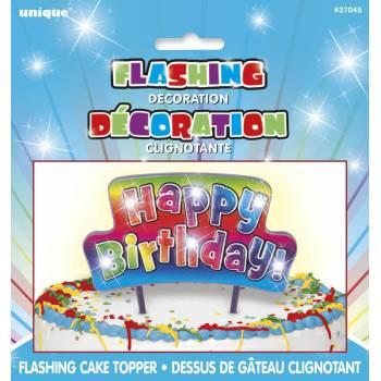 Pic lumineux Happy Birthday rainbow pour gâteau