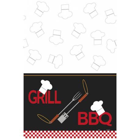 Nappe en plastique BBQ grill pour la décoration de table d'une fête d'été au coin d'un bon barbecueDimensions: 240cm x 180cm
