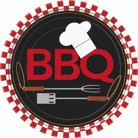 8 Assiettes en carton pour la décoration de table d'une fête d'été au coin d'un bon barbecue Dimensions: Ø23cm