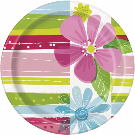 8 Assiettes à dessert en carton décor Flower springpour une décoration de table fleuri et printannière Dimensions : Ø18cm