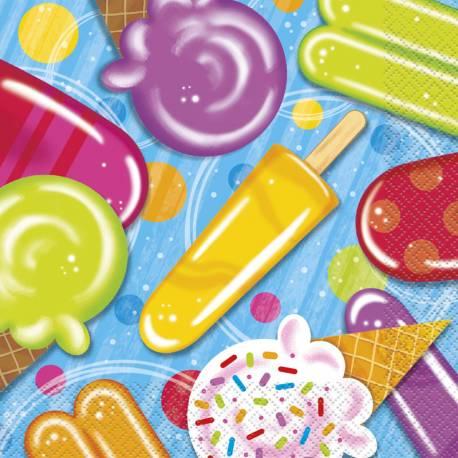 16 Serviettes en papier ice cream party pour décoration de table gourmande et estivale Dimensions : 33cm x 33cm / 16.5cm x 16.5cm