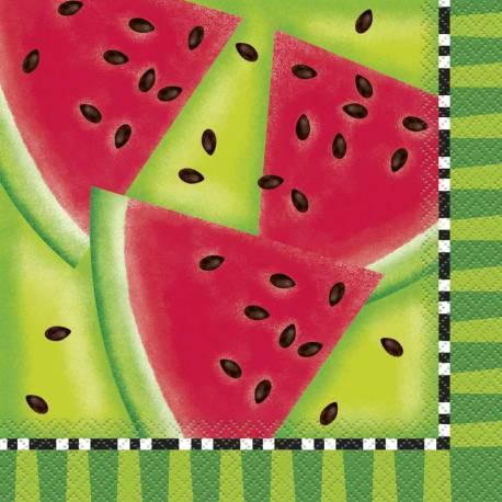 16 Serviettes en papier décor pastèque pour la décoration d'une table de fête d'été coloré et fruité Dimensions: 33cm x 33cm/16.5cm x 16,5