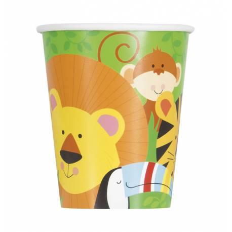 8 gobelets en carton décoranimal jungle pour la décoration d'une table d'anniversaire sur le thème de la jungle Dimensions : 20cl