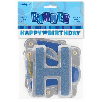 Banderole Happy Birthday bleu métallisé